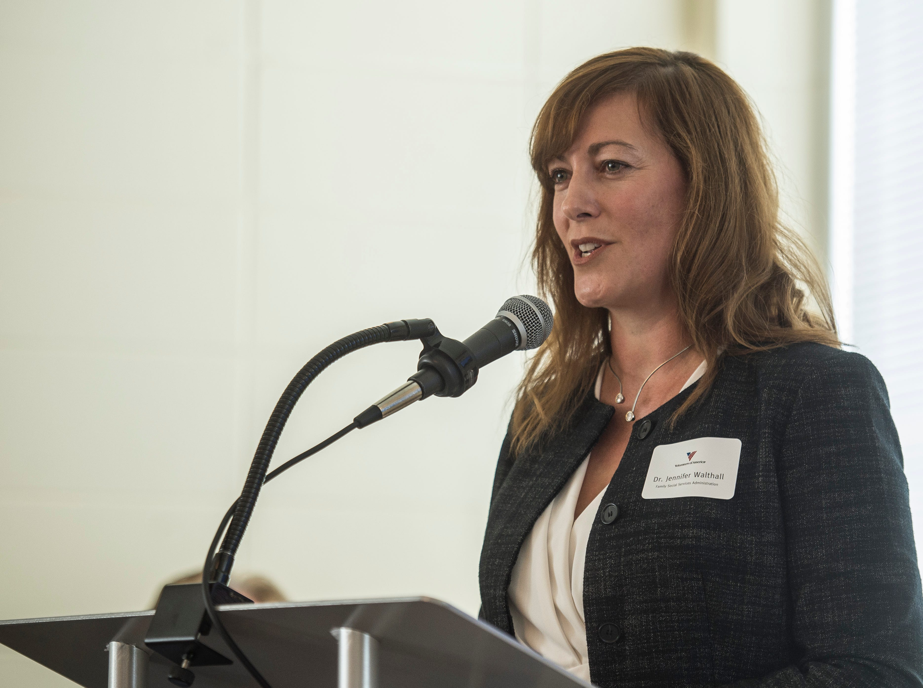 Family and Social Services Administration head Jennifer Walthall speaks during a news conference celebrating the opening of the Winchester House, a new drug treatment facility for women, in Winchester, Ind., on Wednesday, Aug. 1, 2018.
