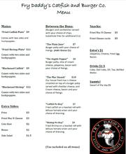 Fry Daddy's Catfish and Burger Co. menu.