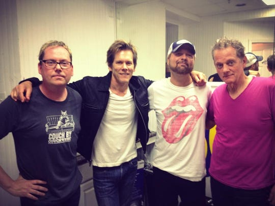 National duo The Bacon Brothers will again be joined by local opening act The Hillis Brothers at the Bottle & Cork in Dewey Beach at 8:30 p.m., Tuesday, Aug. 7. Pictured from left: Cliff Hillis; Kevin Bacon; Beachcomber columnist Roger Hillis; and Michael Bacon.