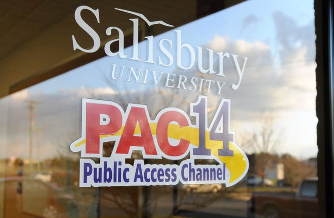 A PAC14 logo on the entrance at the studio.
