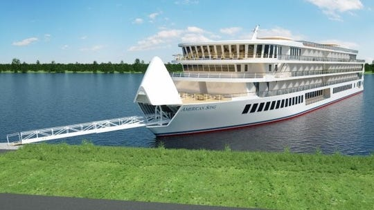 The bow of the American Song opens to release an agile gangway that's hidden inside when not in use.
