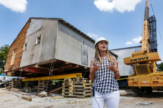 Megan Morris talks about Bass Pro Shops plans for the Ozark Mill project along the Finley River in Ozark on Wednesday, Aug. 1, 2018.