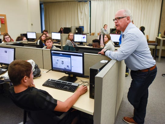 Congressman and candidate for governor Tim Walz talks with students during a tour of the Integrated Science and Engineering Laboratory Facility Wednesday, Aug. 1, at St. Cloud State University.