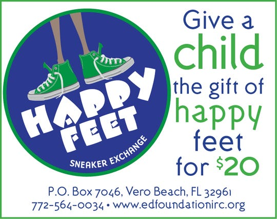 "Anyone can provide ""Happy Feet"" to a child in need by buying a $20 gift card that goes toward keeping a student on a path of learning."