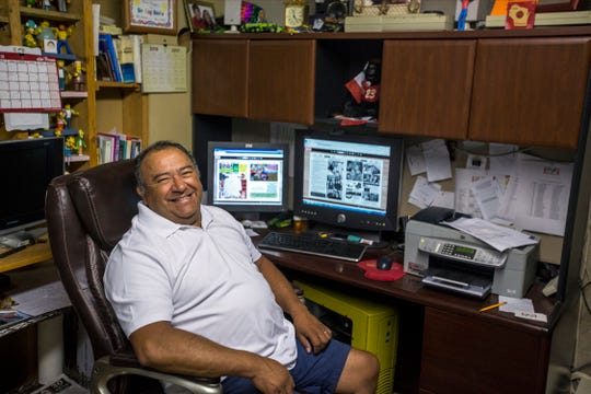 Alejandro Vazquez, the editor and publisher of the Spanish-language newspaper Noticias, poses for a portrait in his home office in Abbotsford, Wis., July 13, 2018. Vazquez trained as a journalist in Mexico City before moving to the United States in the 1990s.
