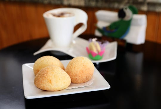 Pao de queijo, a Brazilian cheese bread, at Araras Coffee & More, where they sell Brazilian coffee and treats in White Plains, July 31, 2018.