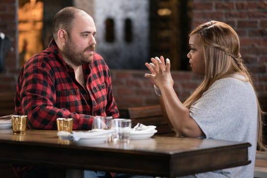 Left to right: Contestant Christian Petroni and Host Sunny Anderson at Scopa Italian Roots, as seen on Food Network Star, Season 14.