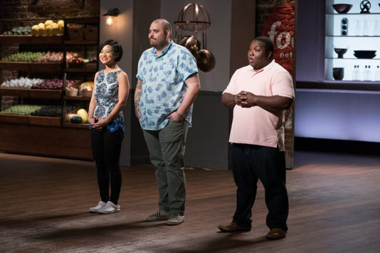 Jess Tom Christian Petroni And Manny Washington During The Pilot Reveal As Seen On Food Network Star