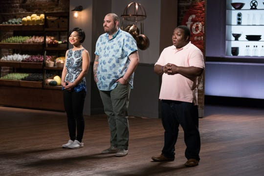 Contestants (left to right) Jess Tom, Christian Petroni and Manny Washington during the Pilot Reveal, as seen on Food Network Star, Season 14.