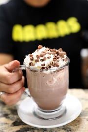 A hot chocolate at Araras Coffee & More, where they sell Brazilian coffee. The cafe is located at 406 Mamaroneck Ave. in White Plains.