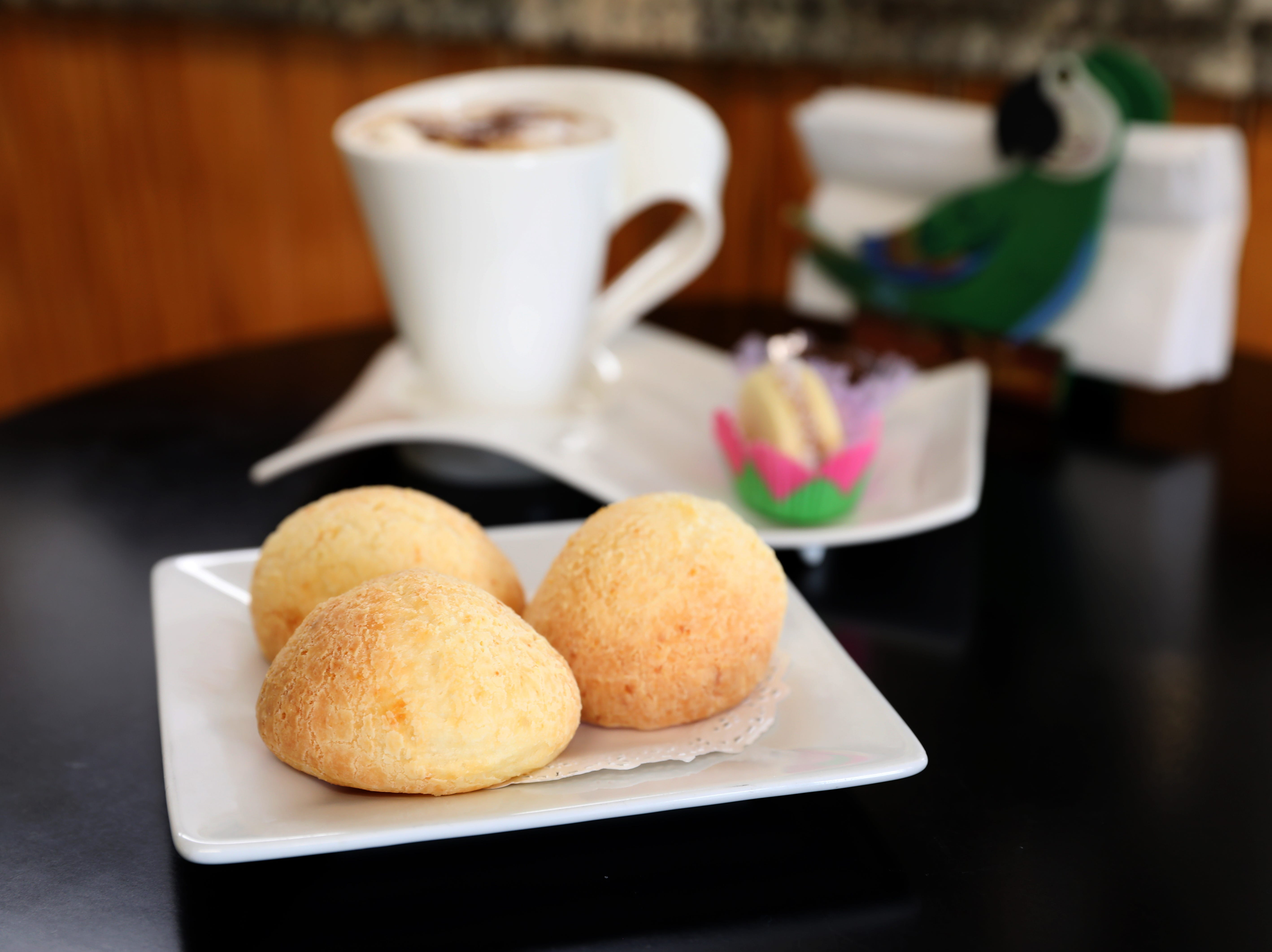 Pao de queijo, a Brazilian cheese bread, at Araras Coffee & More, where they sell Brazilian coffee and treats in White Plains, on Mamaroneck Ave.