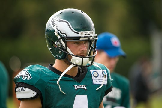 Eagles kicker Jake Elliott at training camp Wednesday at the NovaCare Complex in Philadelphia.