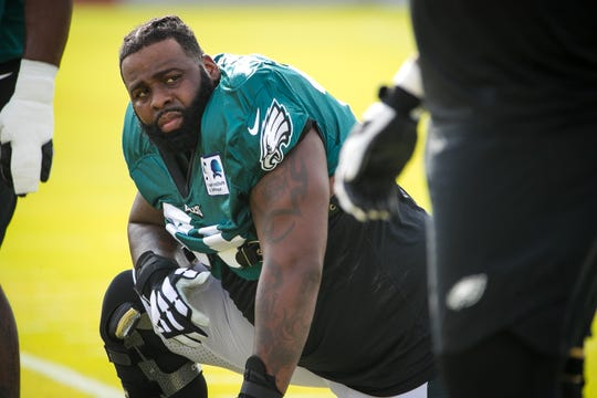 Eagles tackle Jason Peters at training camp Wednesday, which continues with live contact drills at the NovaCare Complex in Philadelphia.