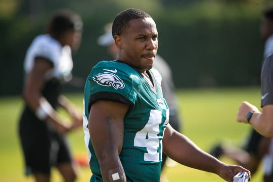 Eagles running back Darren Sproles, shown during training camp, hasn't played since the season opener because of a hamstring injury.