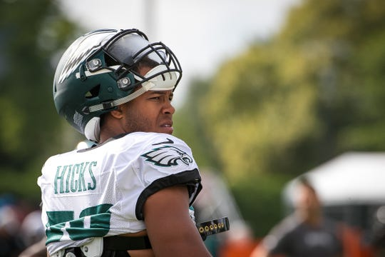 Eagles linebacker Jordan Hicks at training camp. Hicks, coming off an injury, will be a big part of the team's success on defense.