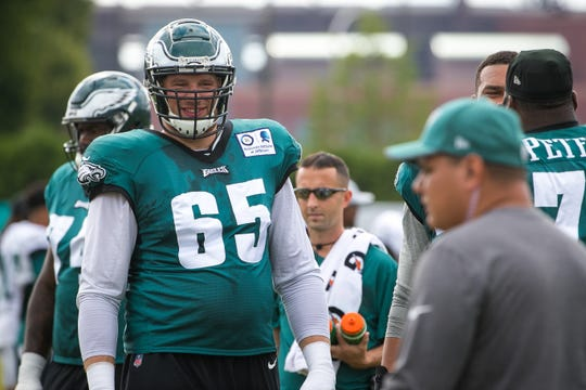 Eagles tackle Lane Johnson sat out practice Wednesday with an injured ankle.