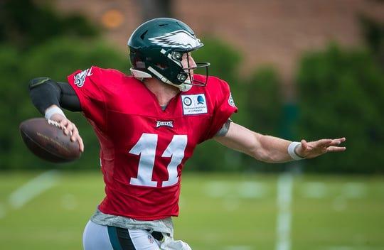 Eagles quarterback Carson Wentz runs practice drills recently at the NovaCare Complex in Philadelphia.