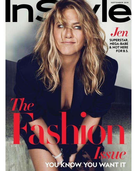Jennifer Aniston on cover of September 'InStyle' magazine.