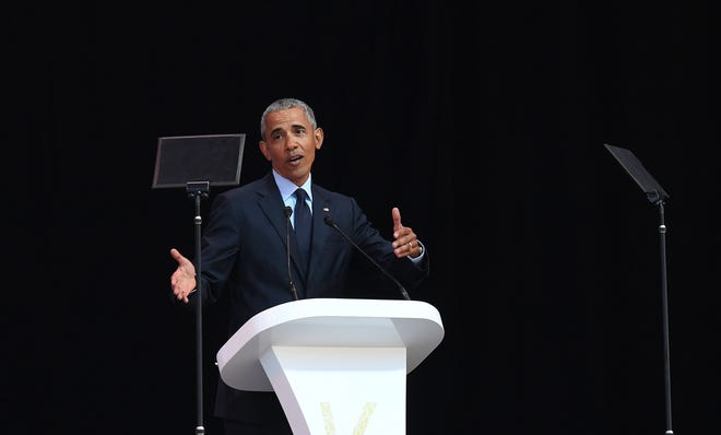 epa06894960 Former US President Barack Obama speaks during the annual Mandela Lecture to commemorate Mandela Day, Johannesburg, South Africa, 17 July 2018. Nobel Peace Prize winner Nelson Mandela 100 years ago and the lecture is part of a week long celebration of his life.  EPA-EFE/STR