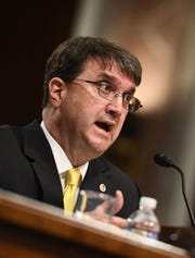 Robert Wilkie testifies June 27, 2018, at his Senate confirmation hearing in  Washington, DC.