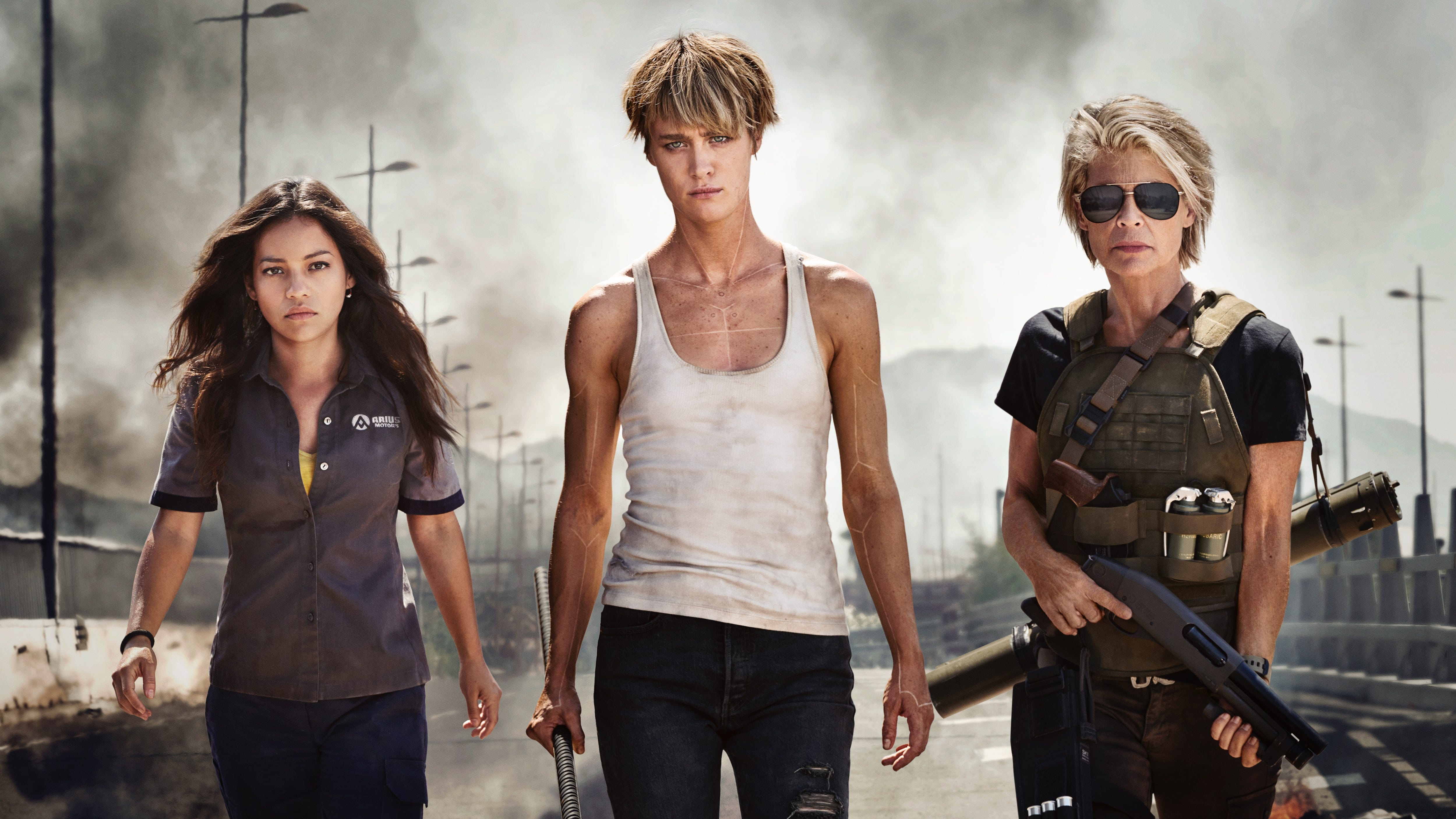 """Sarah Connor (Linda Hamilton) is still armed to the teeth 27 years after """"Terminator 2: Judgment Day."""" And now she has company (Natalia Reyes and Mackenzie Davis)."""