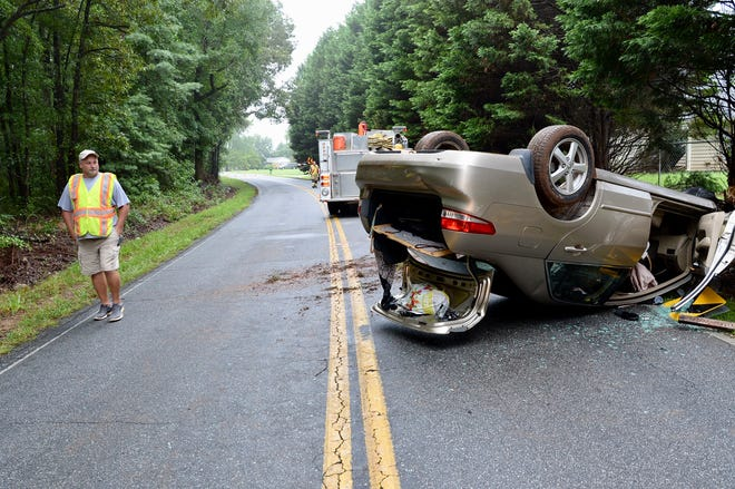 A driver is okay after wet weather led to an early morning crash in Anderson.