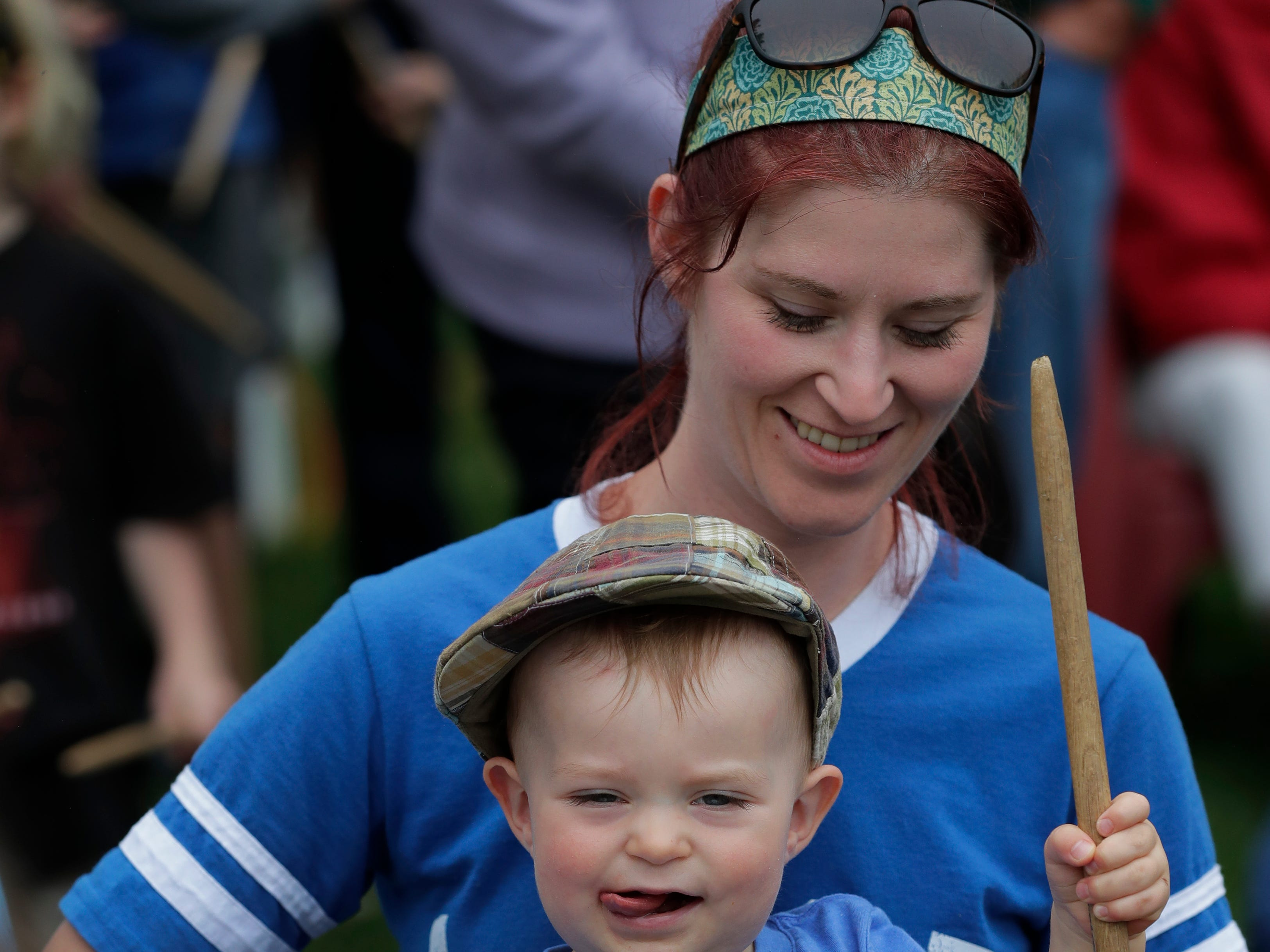 April Lauer-McNamara of Appleton and her son Beckitt McNamara participate in a Brazilian Samba Drumming event at Houdini Plaza during the Mile of Music Thursday, August 2, 2018, in Appleton, Wis.  Dan Powers/USA TODAY NETWORK-Wisconsin