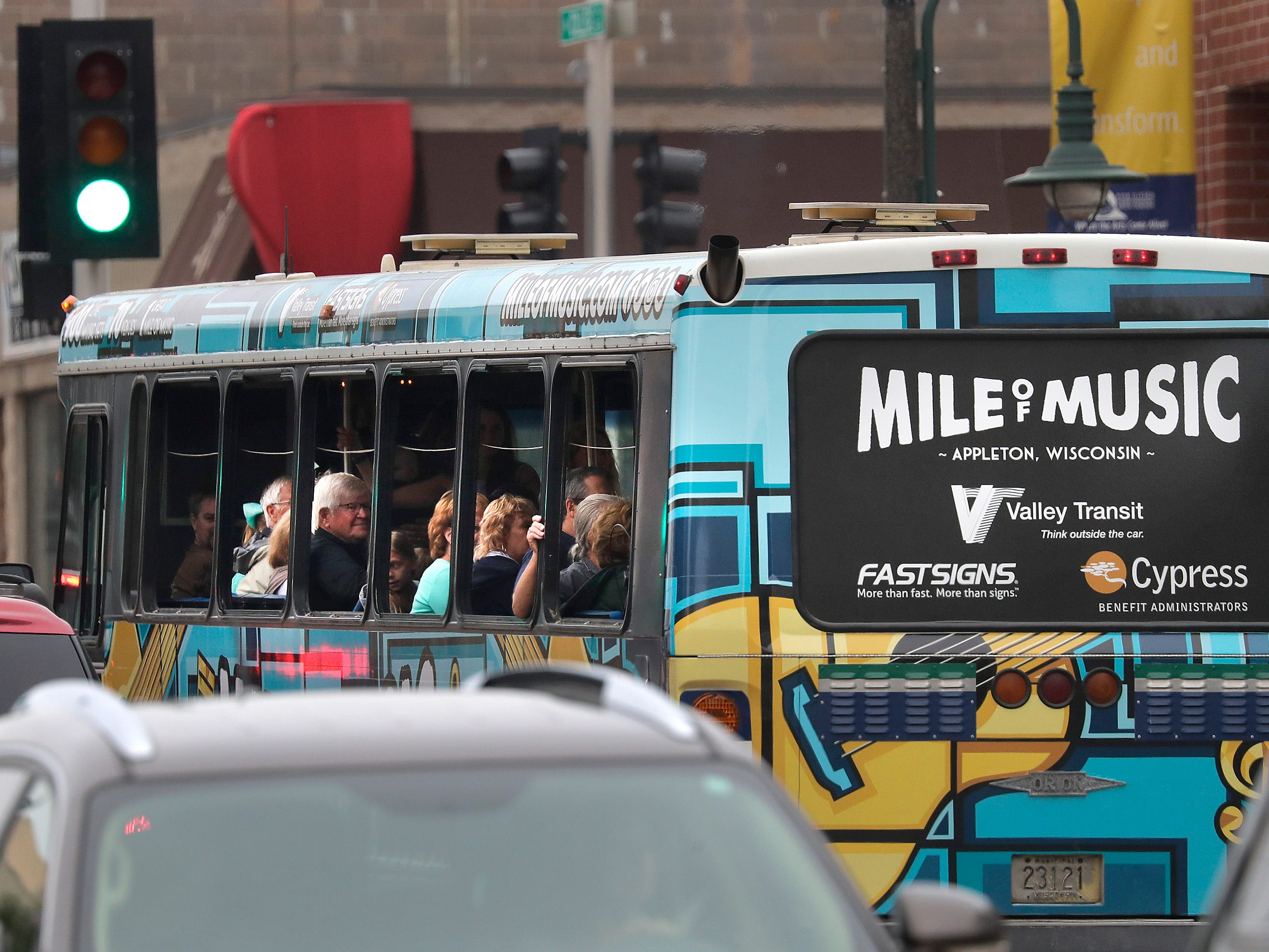 The Mile of Music bus rolls thropugh downtown during the Mile of Music festival Thursday, August 2, 2018, in Appleton, Wis. Wm. Glasheen/USA TODAY NETWORK-Wisconsin