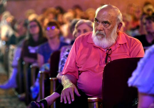 Bill Overton listens to U.S. Senate candidate Beto O'Rourke speak during a town hall meeting with four other Democrats at the Paramount Theatre Thursday August. 2, 2018. Nearly 800 people came to hear the candidates positions on a wide range of issues.