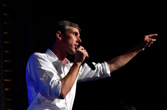 U.S. Senate candidate Beto O'Rourke speaks Thursday at a town hall meeting at the Paramount Theatre. Four other Democratic candidates also spoke to a crowd of nearly 800.