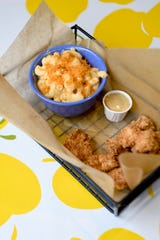 The chicken bites, shown here with a side of mac n' cheese is from the kid's menu at HomeGrown West on Amboy Road.