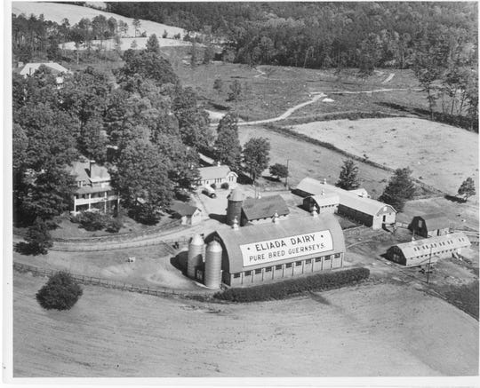An aerial view of the dairy barn, built by volunteer Amish, who traveled to Western North Carolina to donate their time to Eliada. The barn is now a recreation center.