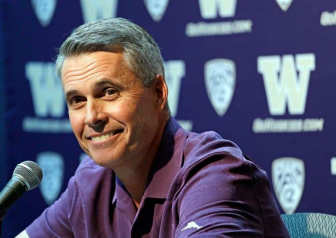 Washington football coach Chris Petersen on Thursday, a day before the Huskies open fall camp.