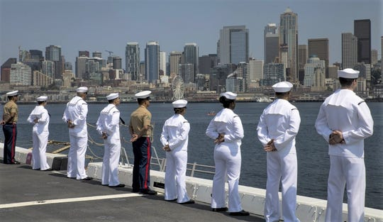 SEATTLE (Aug 1, 2018) U.S Marines and Sailors man the rails aboard amphibious transport dock ship USS Somerset (LPD 25) during Seafair Fleet Week. Seafair Fleet Week is an annual celebration of the sea services wherein Sailors, Marines and Coast Guard members from visiting U.S. Navy and Coast Guard ships and ships from Canada make the city a port of call.