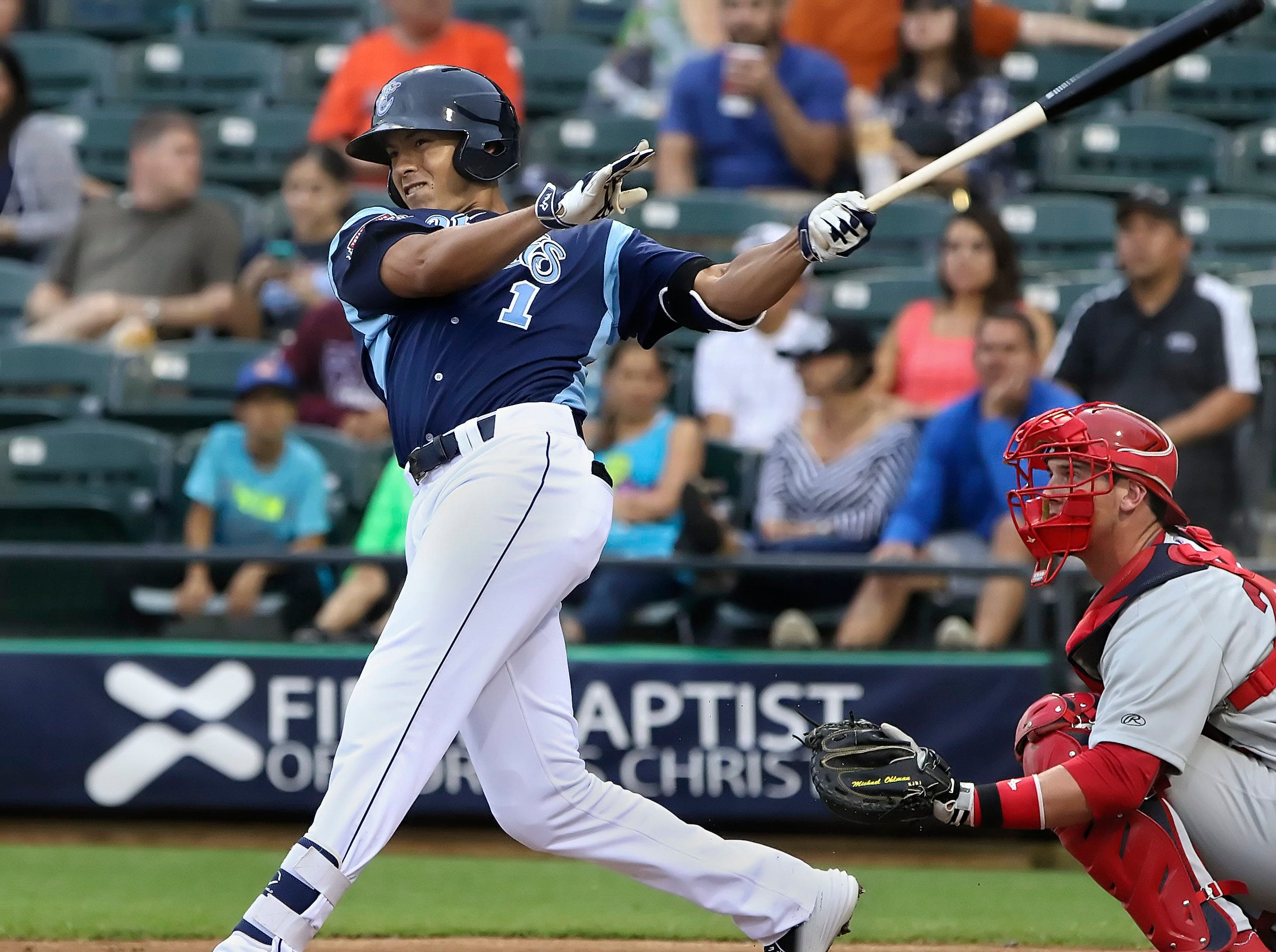 GEORGE TULEY/SPECIAL TO THE CALLER-TIMES Carlos Correa picked up an RBI double into the left field corner, scoring Tony Kemp to tie the game at 1-1 in the first inning at Whataburger Field in Corpus Christi, Friday, April 17, 2015.