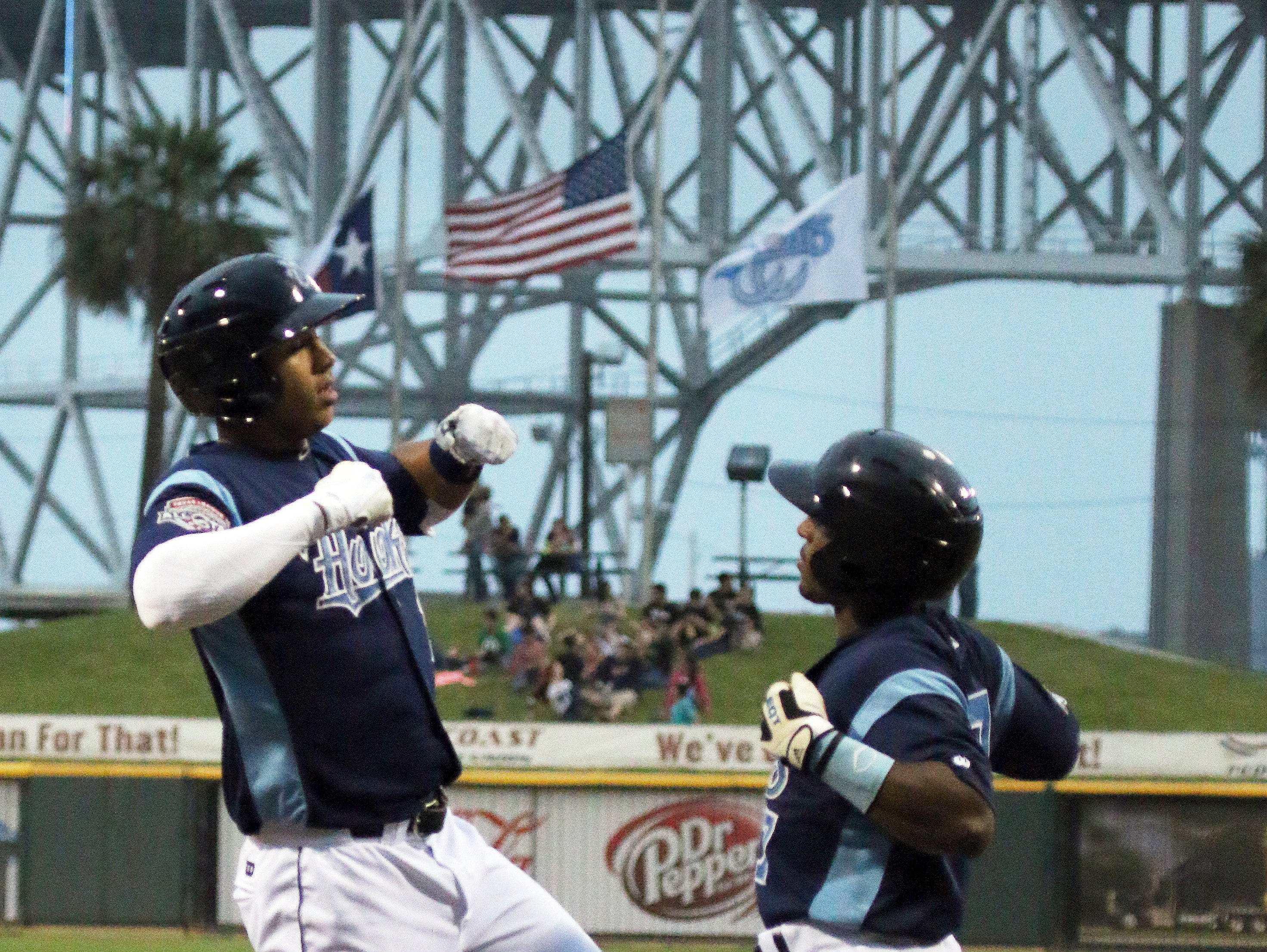 Erick Sifuentes/Special to The Caller-TimesCorpus Christi Hooks' Carlos Correa celebrates his 3 run, 397 feet home run at home plate with Tony Kemp  at Whataburger Field Tuesday evening, May 5.