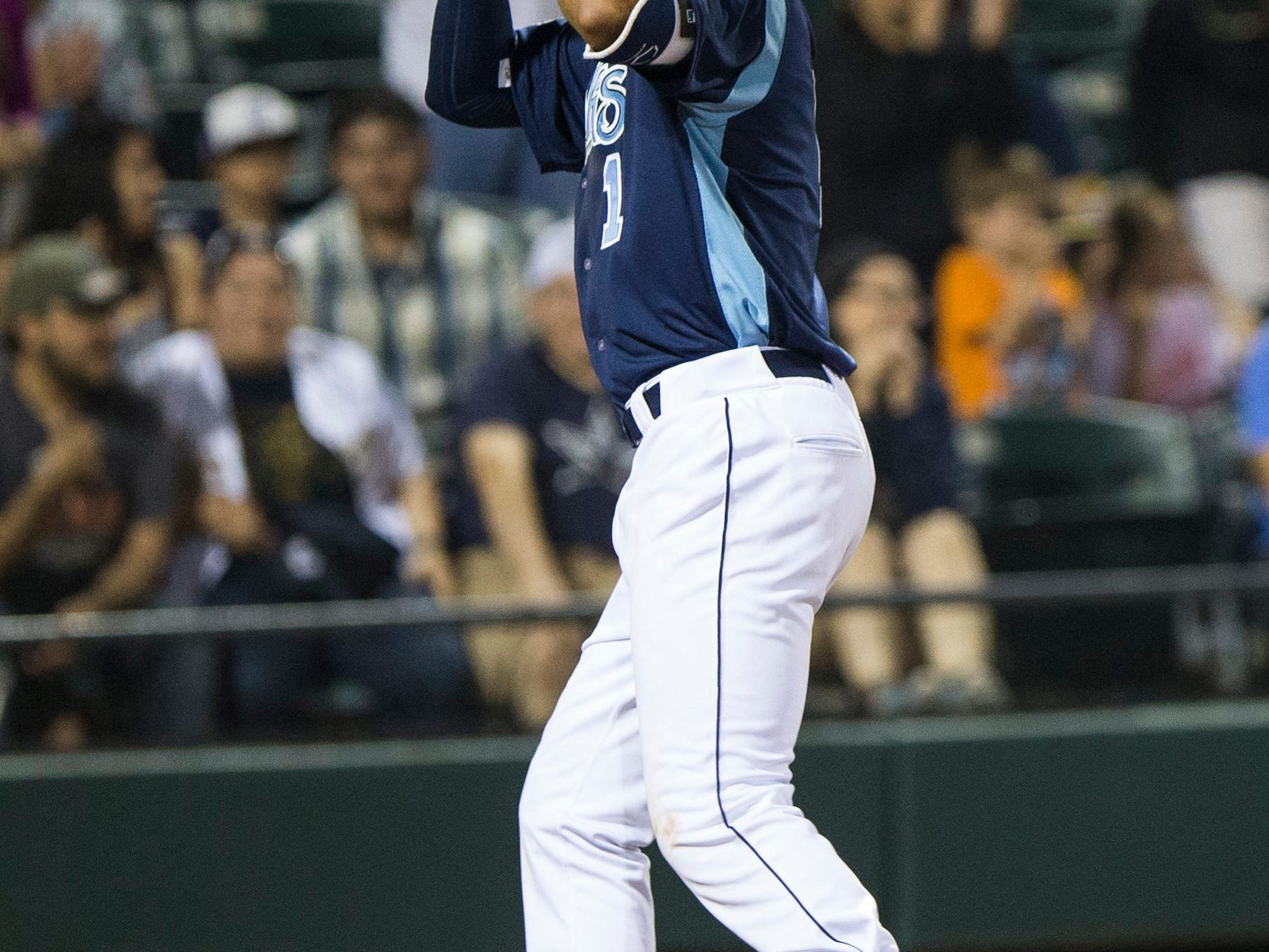 Andrew Mitchell/Caller-TimesCorpus Christi Hooks' Carlos Correa points to the sky after crushing a home run during their 2015 Texas League All Star Game the Houston Astros at Whataburger Field Thursday evening, April 2, in Corpus Christi.