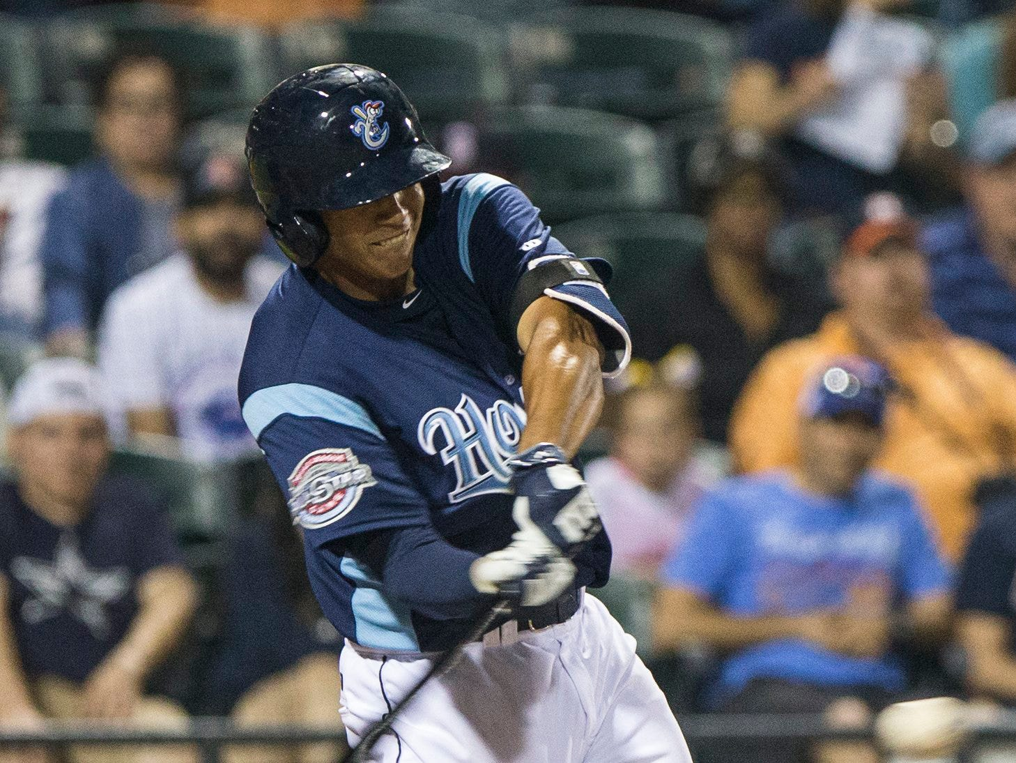 Andrew Mitchell/Caller-TimesCorpus Christi Hooks' Carlos Correa crushes the ball out of the park during their 2015 Texas League All Star Game the Houston Astros at Whataburger Field Thursday evening, April 2, in Corpus Christi.