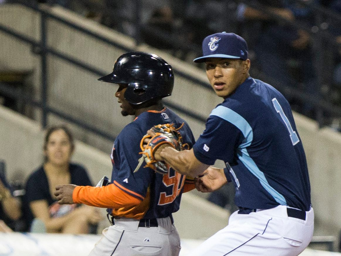 Andrew Mitchell/Caller-TimesCorpus Christi Hooks' Carlos Correa places a tag during their 2015 Texas League All Star Game the Houston Astros at Whataburger Field Thursday evening, April 2, in Corpus Christi.