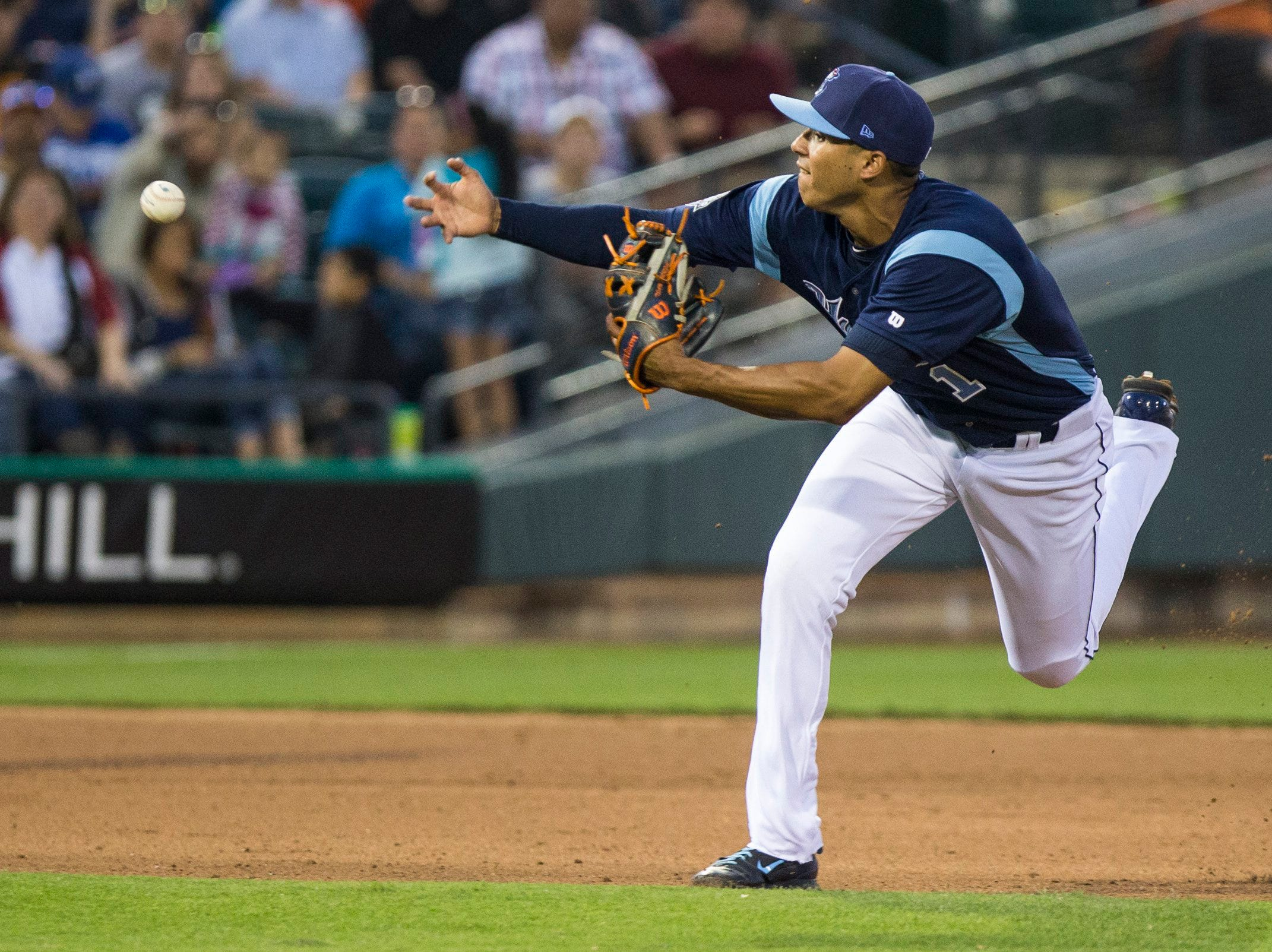 Andrew Mitchell/Caller-TimesCorpus Christi Hooks' Carlos Correa makes an error on a play has he fails to scoop a ball hit in his direction during their 2015 Texas League All Star Game the Houston Astros at Whataburger Field Thursday evening, April 2, in Corpus Christi.