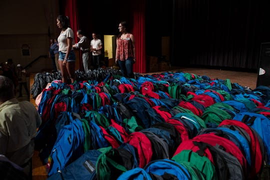 Backpacks are lined up for the 6th annual school supplies giveaway in the Robstown High School auditorium on Wednesday, Aug,1, 2018.