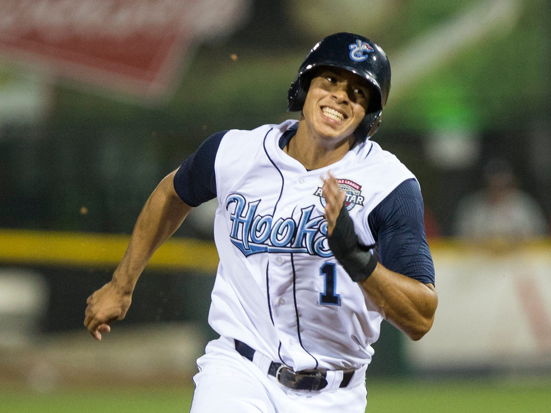 Andrew Mitchell/Caller-TimesCorpus Christi Hooks' Carlos Correa sprints to third base during their home opener against the Springfield Cardinals at Whataburger Field Thursday evening, April 16, 2015.