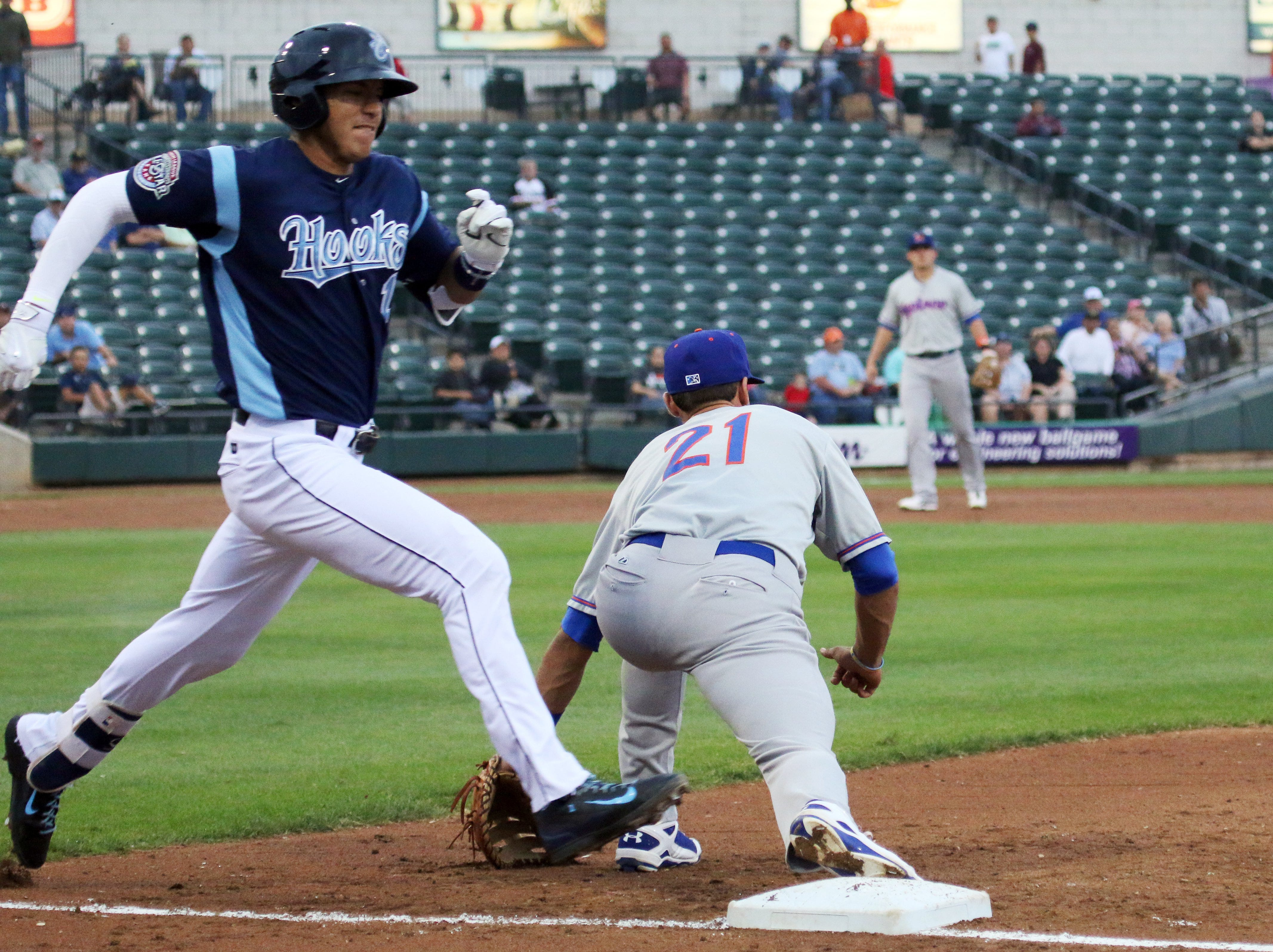 Erick Sifuentes/Special to The Caller-TimesCorpus Christi Hooks' Carlos Correa beats out a throw to first against the Midland Rockhounds at Whataburger Field on Tuesday, May 5, 2015 .