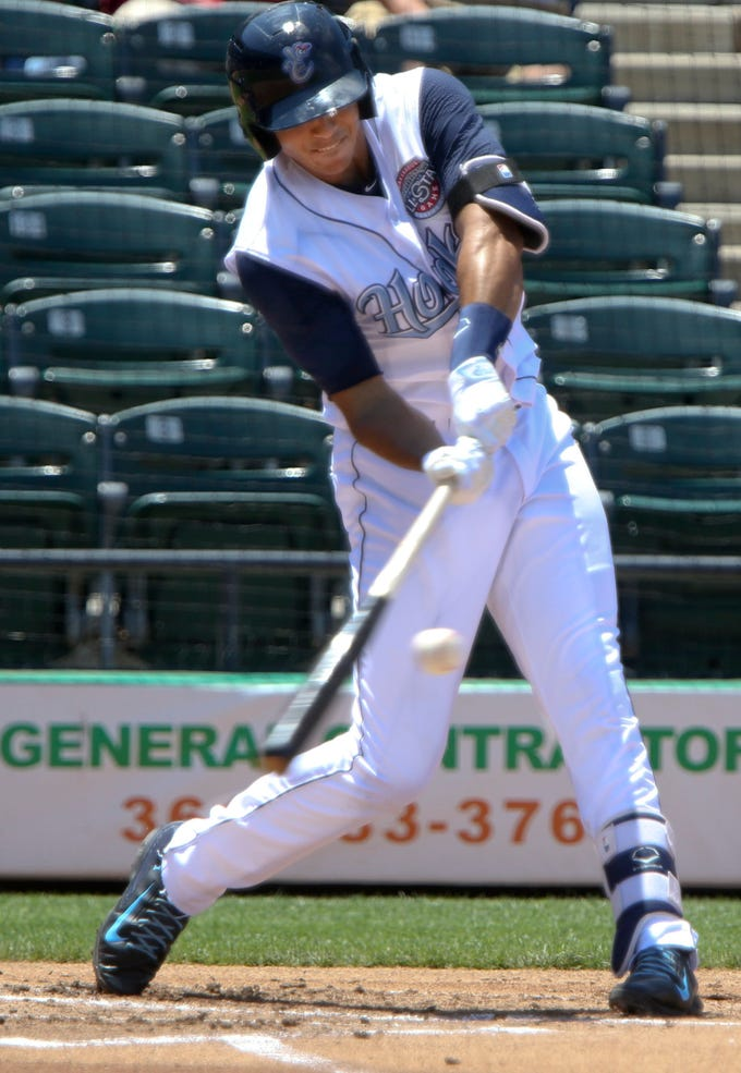 GEORGE TULEY/SPECIAL TO THE CALLER-TIMES Carlos Correa picked up a two-out double in the first inning at Whataburger Field in Corpus Christi, Sunday, May 3, 2015. Correa was stranded at third with the bases loaded before a strike out ended the first.