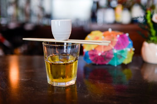 A sake bomb is a customer favorite at Volcano Steak & Sushi in West Berlin.