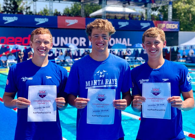 Mason Manta Rays swimmers Jake Foster, Adam Chaney and Carson Foster are headed to Fiji with Team USA.