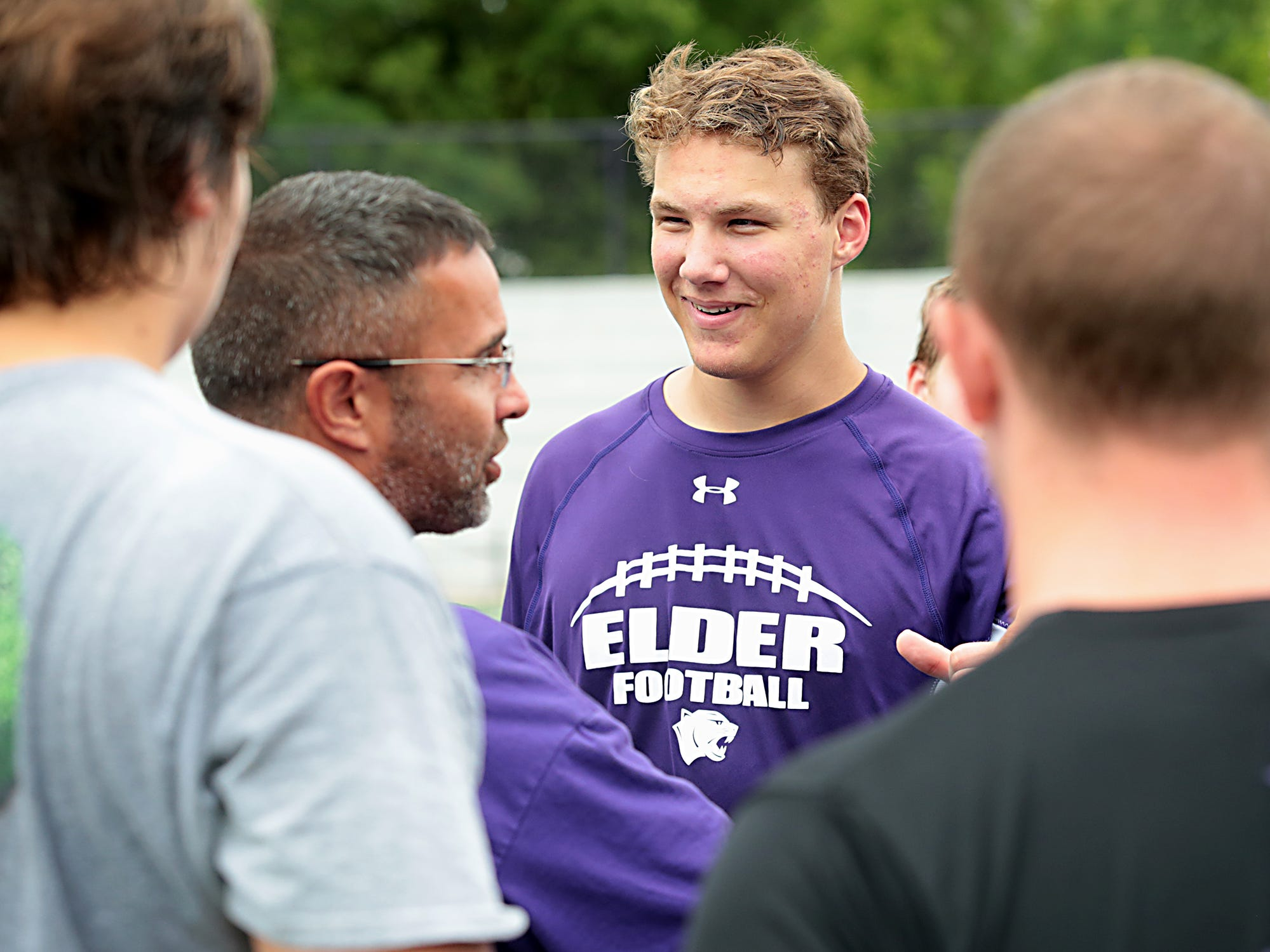 Elder defensive end Spencer Bono, at practice Tuesday, July 31, 2018, has committed to play football for Boston College. E.L. Hubbard for the Enquirer