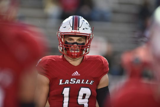 LaSalle's Brody Ingle looks on during the coin toss Friday, October 27th at LaSalle High School