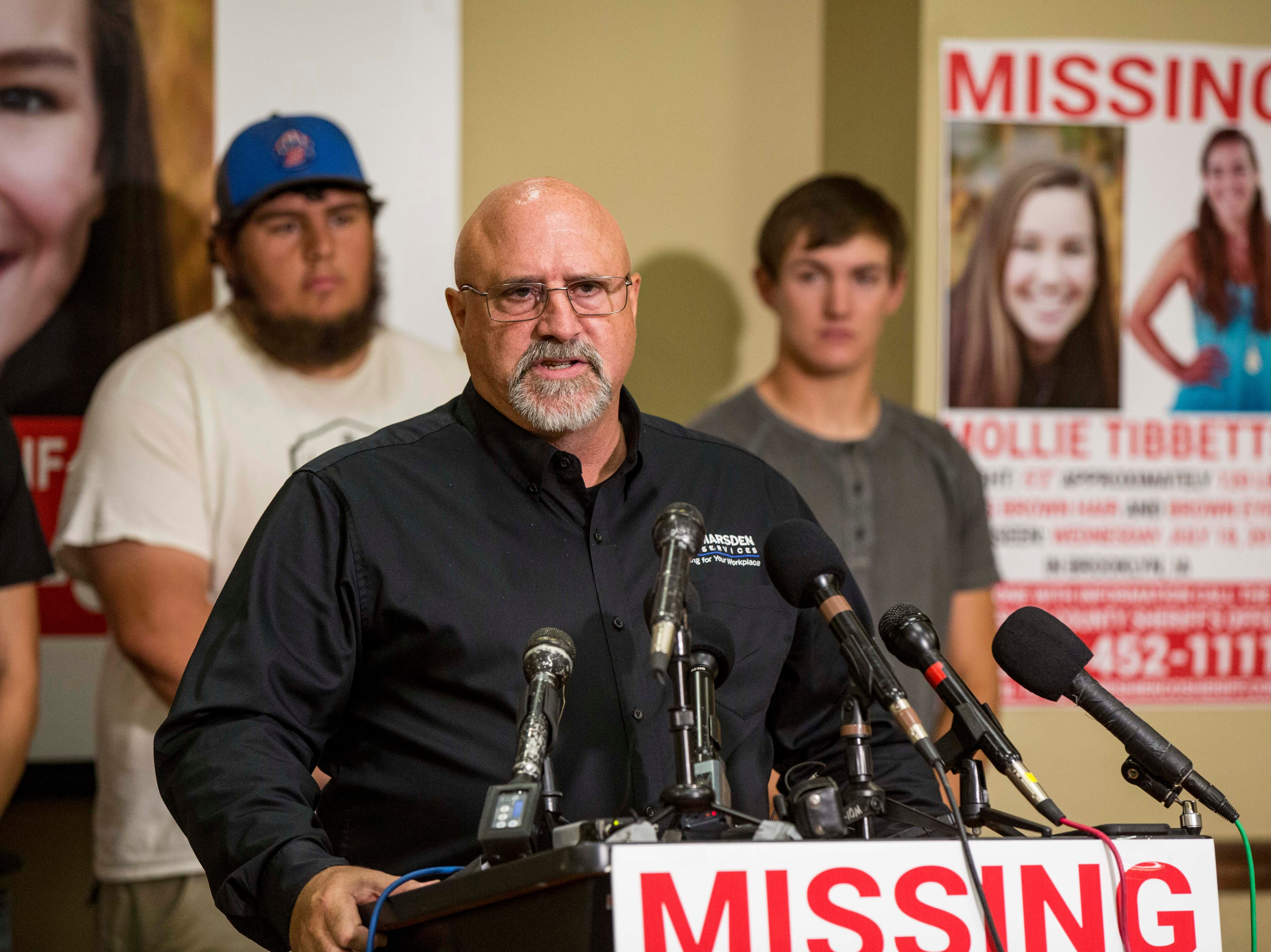 "Greg Willey with Crime Stoppers of Central Iowa announces  a ""Bring Mollie Tibbetts Home Safe Reward Fund"" Thursday, Aug. 2, 2018, in Brooklyn, Iowa."
