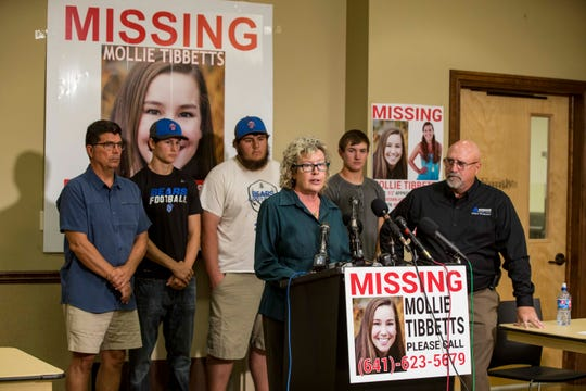 """Laura Calderwood mother of the missing 20-year-old University of Iowa student Mollie Tibbetts answers questions during a press conference announcing a """"Bring Mollie Tibbetts Home Safe Reward Fund"""" Thursday, Aug. 2, 2018, in Brooklyn, Iowa."""